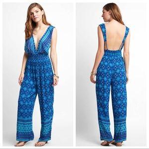 RAGA Deep V Neck Jumpsuit Ocean Blue Print